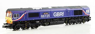 "Dapol ND102 Class 66 diesel 66725 ""Sunderland"" in GBRF livery"