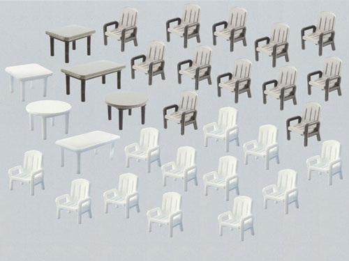 Faller 272441 N Scale Garden Chairs and Tables