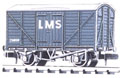 NR-43M Peco: (RAILWAY COMPANY SERIES 10 FT WHEELBASE ) Box Van, Standard type, LMS, light grey