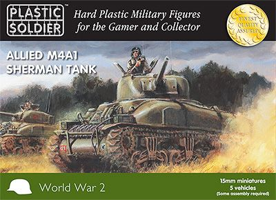Plastic Soldier Co. WW2V15004 Allied M4A1 Sherman Tanks (5)